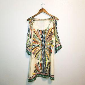 Gibson Latimer tribal cold shoulder shift dress